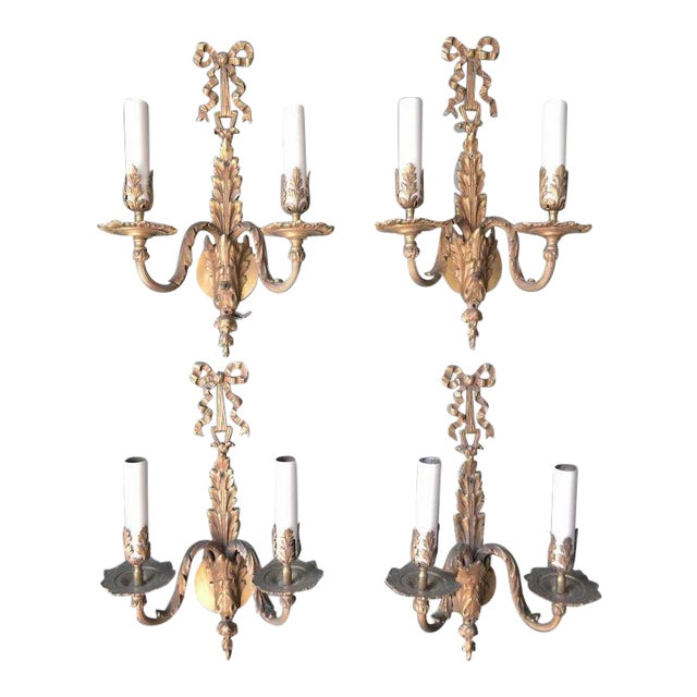 French Louis XVI Dore Bronze Wall Sconces - Set of 4 For Sale