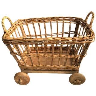 Wicker Rattan Basket Storage Cart With Wooden Wheels For Sale