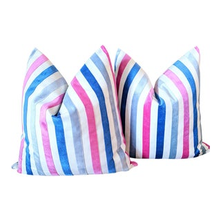 Contemporary Tobi Fairley Hamilton Velvet Stripe Pillows - a Pair For Sale