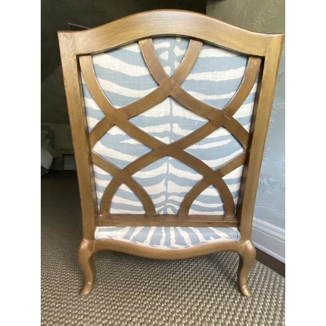 Metal Henredon Club Chair With Cross Pattern Back For Sale - Image 7 of 12