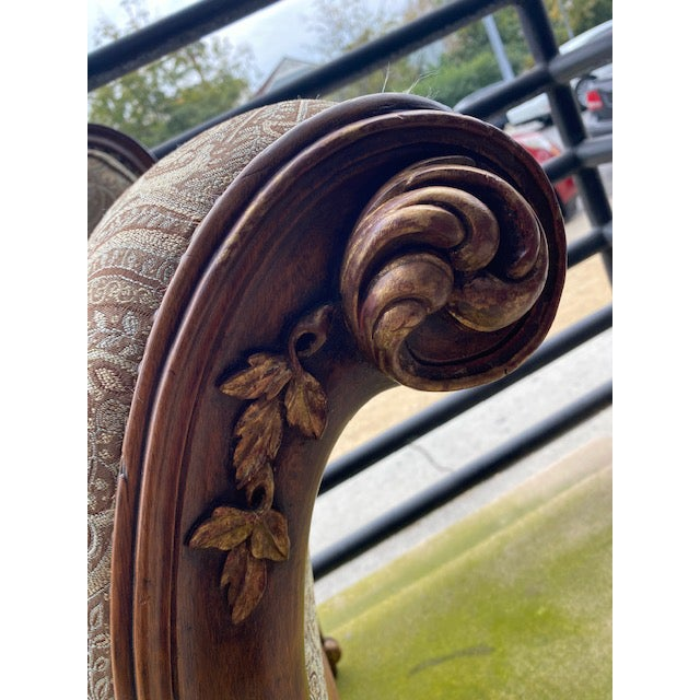 Brown Early 19th C. French Walnut Settee With Guilt Accents For Sale - Image 8 of 13