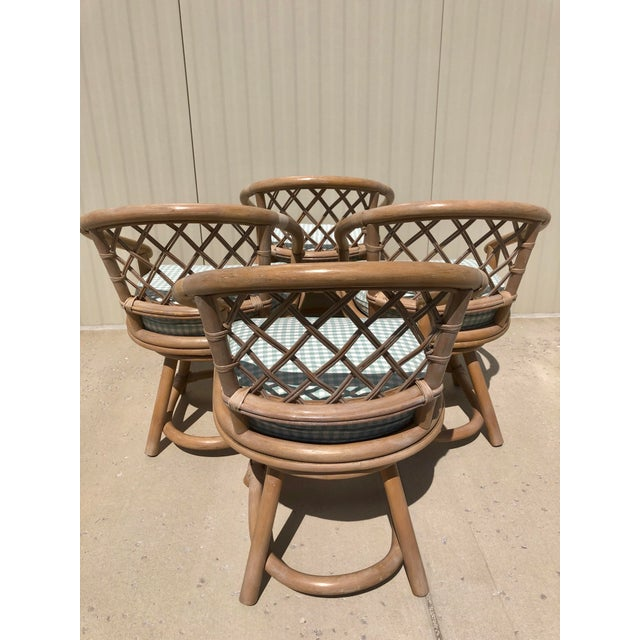 Ficks Reed Ficks Reed Natural Rattan Swivel Chairs - Set of 4 For Sale - Image 4 of 13