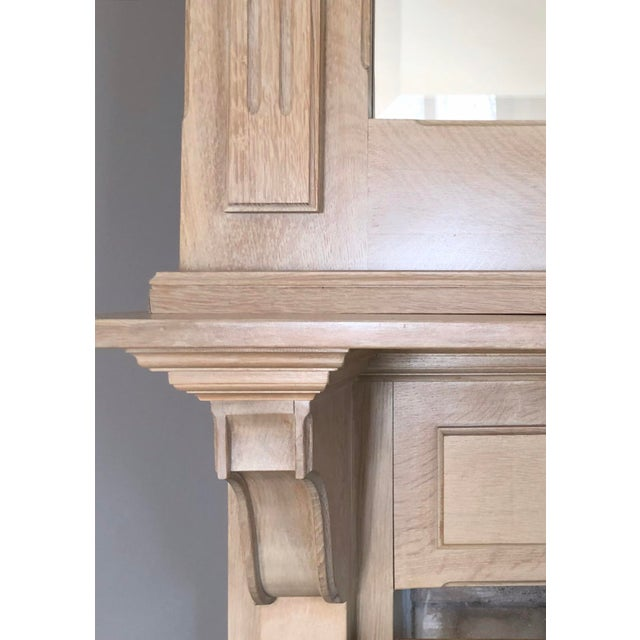 Wood French Country 2 Piece Oak Fireplace Mantel With Oak Framed Mirror For Sale - Image 7 of 8