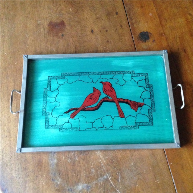 Vintage Glass-Top Painted Bird Tray - Image 3 of 11