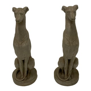 Cast Cement Whippet Sculptures -A Pair For Sale