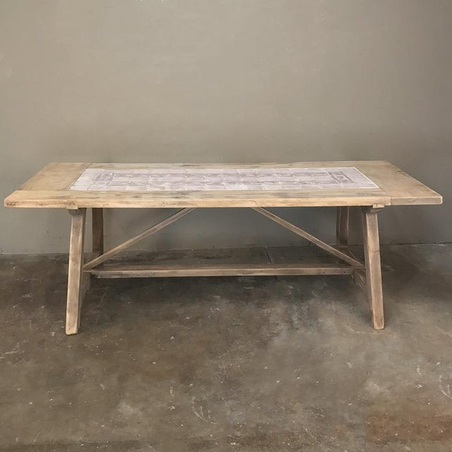 Mediterranean 19th Century Spanish Table With Marble Tiles For Sale - Image 3 of 11