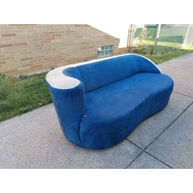 Vladimir Kagan for Directional Nautilus Sofa in Blue Velvet - Image 7 of 11