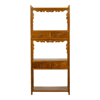 Chinese Qing Dynasty 19th Century Elm Bookcase with Open Shelves and Drawers For Sale