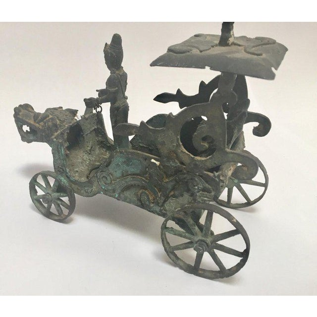 Antique Asian Bronze Chariot With Dragon Head Pulled by Horses For Sale - Image 11 of 13