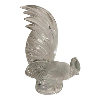 Large Signed Lalique French Crystal Bird or Rooster - Coq Nain For Sale