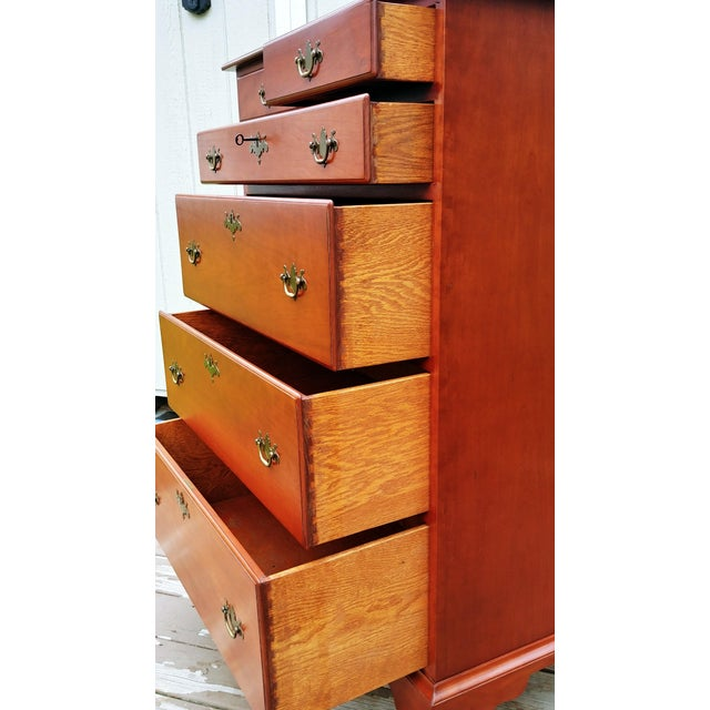 1950s Traditional Virginia Craftsmen Reproduction Solid Cherry Tall Chest of 6 Drawers For Sale - Image 10 of 13