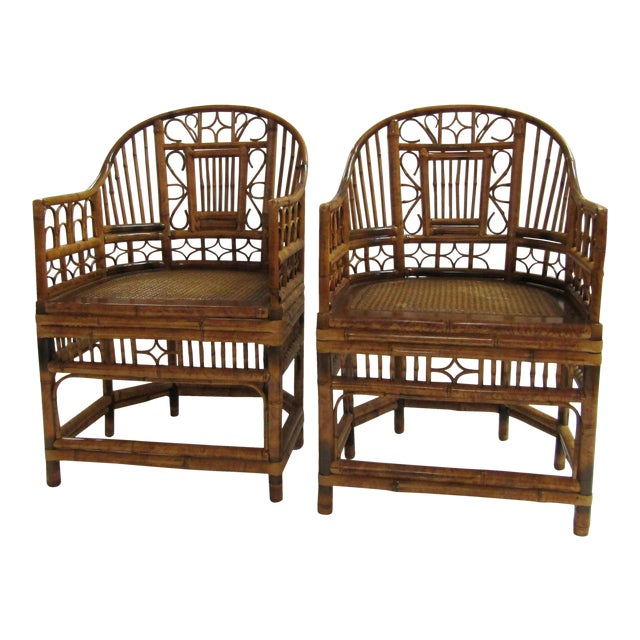 Tortoise Bent Bamboo Arm Chairs - A Pair - Image 1 of 5