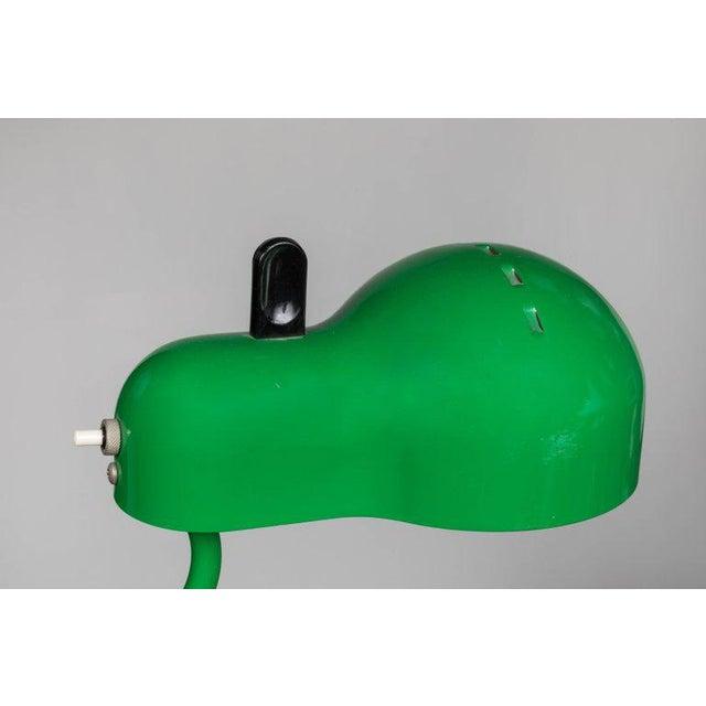 Chrome 1970s Joe Colombo 'Topo' Green Task Lamp for Stilnovo For Sale - Image 7 of 9