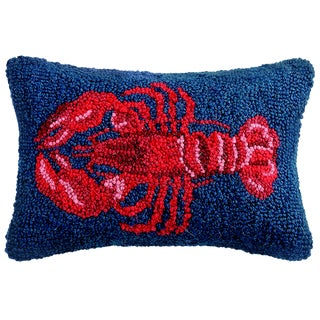 Lobster Hooked Wool Pillow For Sale