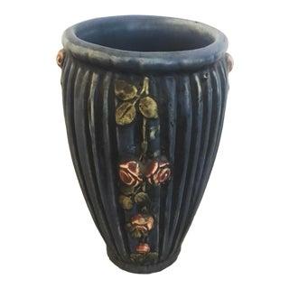 1915 Antique Weller Pottery Blue Drapery Vase, Signed For Sale
