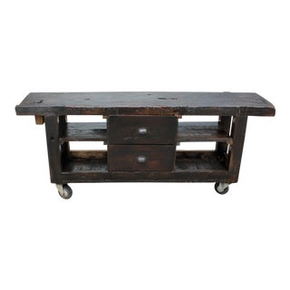 1900s French Country Solid Walnut Workbench For Sale
