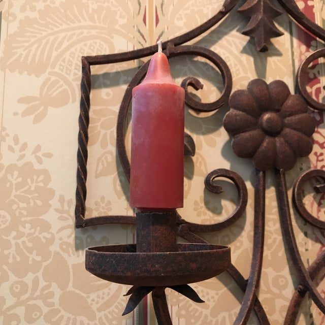 20th Century Art Nouveau Bronze Scrolled Wall Candleholder For Sale - Image 4 of 9
