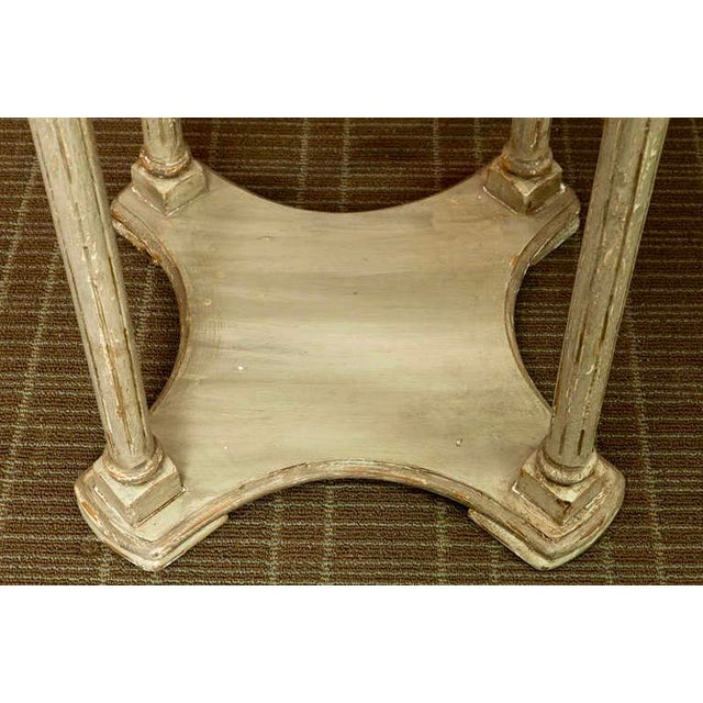 French 2-Tier Painted Wood & Caned Side Table For Sale - Image 5 of 6