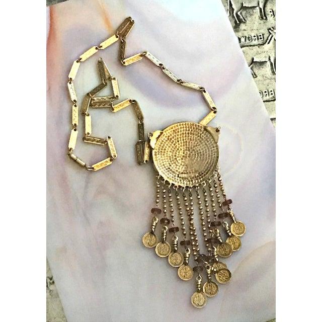 Vintage Accessocraft Medallion Dangle Egyptian Revival Statement Necklace For Sale - Image 4 of 6