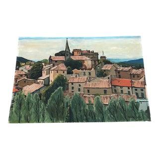 1960's Vintage French Hilltop Village Landscape Oil Painting