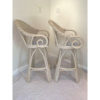 20th Century Shabby Chic White Wicker Bar Stools - a Pair Preview