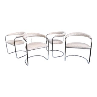 """Mid Century Chrome Cantilever Chair Model """"Ss33"""" Anton Lorenz for Thonet - Set of 4 For Sale"""