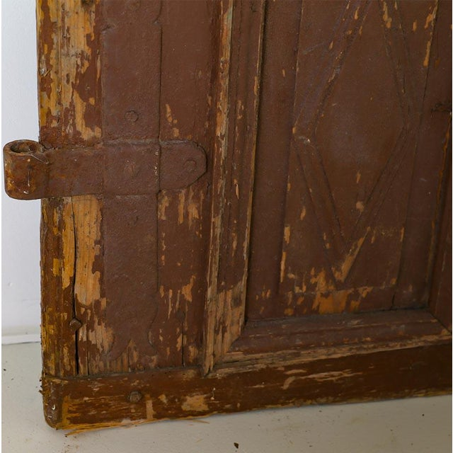 Late 19th Century Antique Original Brown Painted Rustic Wood Door For Sale - Image 5 of 6