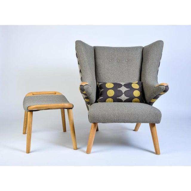 Wood Mid-Century Modern Wegner Arm Chair & Ottoman For Sale - Image 7 of 10