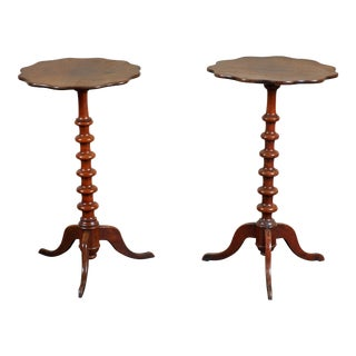Pair of 19th C. Swedish Walnut Turned Side Tables For Sale