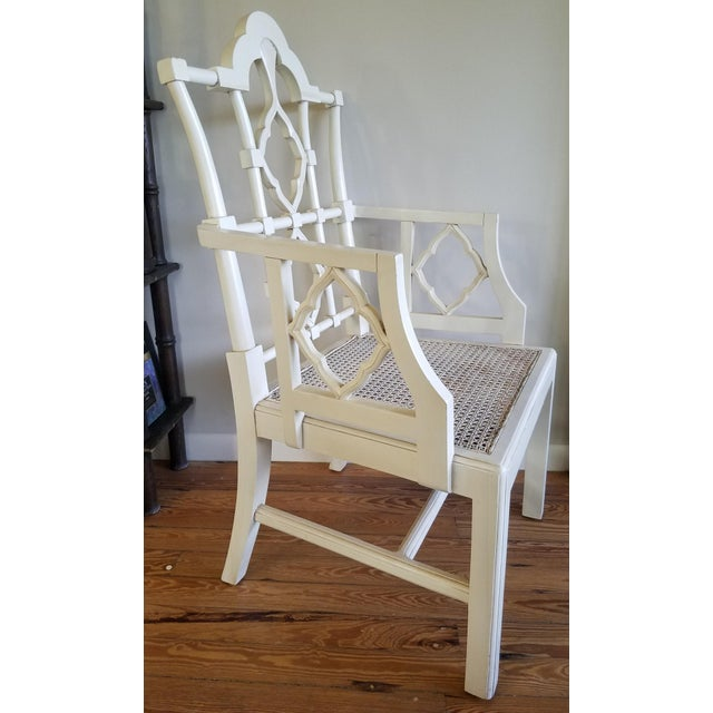 Chippendale Chippendale Off-White Arm Chair For Sale - Image 3 of 6