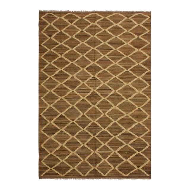 Boho Chic Yestin Lt. Brown/Ivory Hand-Woven Kilim Wool Rug -5'3 X 8'0 For Sale