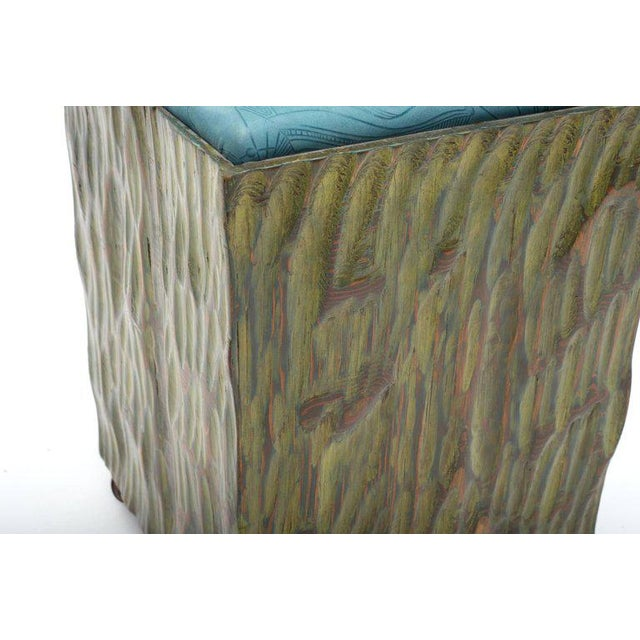 Phillip Lloyd Powell Painted Hand-carved Stools With Abstract Patterned Textile - Image 4 of 7