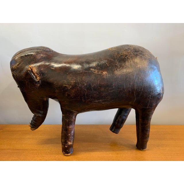 Mid-Century Modern Vintage Abercrombie & Fitch Leather Elephant Ottoman For Sale - Image 3 of 8