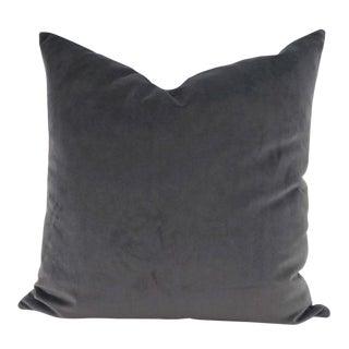 Contemporary Velvet Dark Gray Pillow Cover For Sale