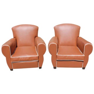 Beautiful Pair of French Art Deco Club Chairs Circa 1940s. For Sale