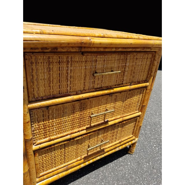 Vintage Mid Century Modern Bamboo Rattan Nightstand For Sale In Los Angeles - Image 6 of 10