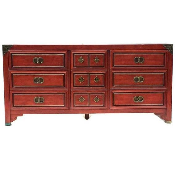 Mid Century Chinoiserie Dresser Asian Credenza Brass Hardware - Image 4 of 10