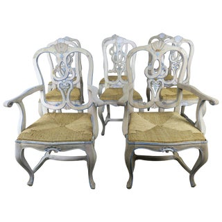19th Century French Country Painted Dining Chairs With Rust Seats- Set of 8 For Sale