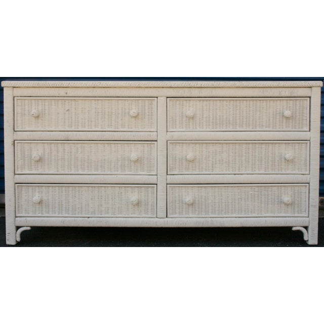 Henry Link White Wicker 6-Drawer Double Dresser - Image 11 of 11