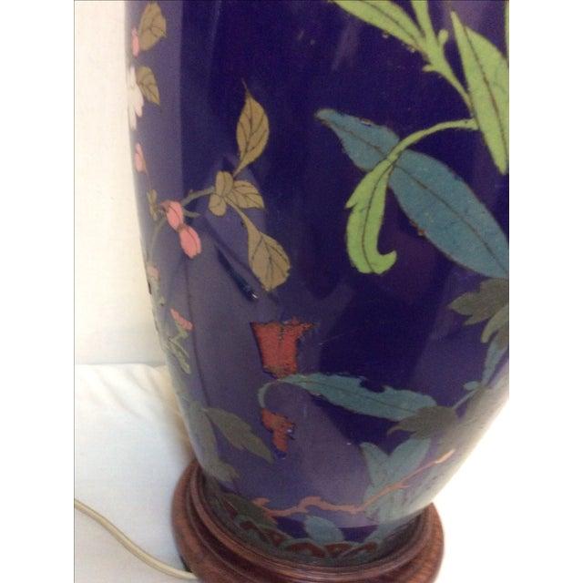 Blue Japanese Cloisonné Lamp For Sale - Image 9 of 11