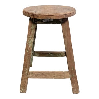 Rustic Vintage Painted Stool or Side Table For Sale
