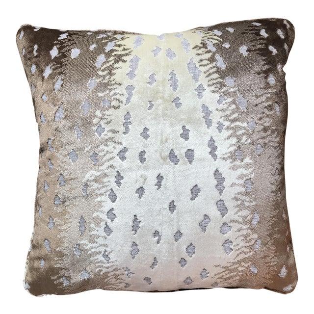 Old World Weavers Silk Cut Velvet Antelope Pillow For Sale