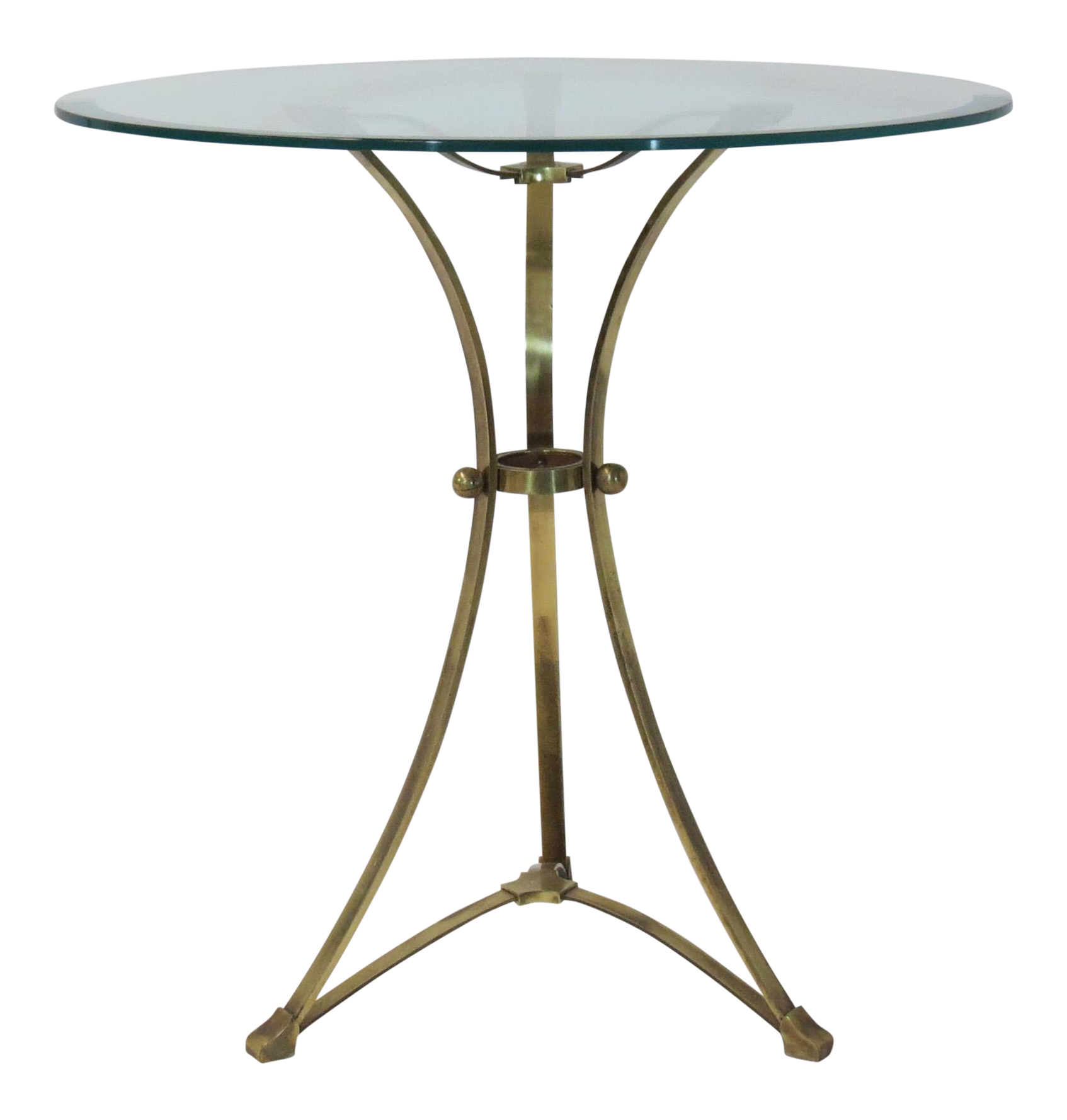 Brass U0026 Glass Tripod Accent Table   Image 1 ...