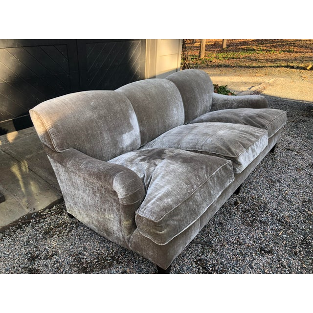 Modern George Smith Taupe Silk Velvet Sofa For Sale - Image 11 of 12