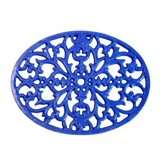 Cobalt Blue Iron Trivet For Sale
