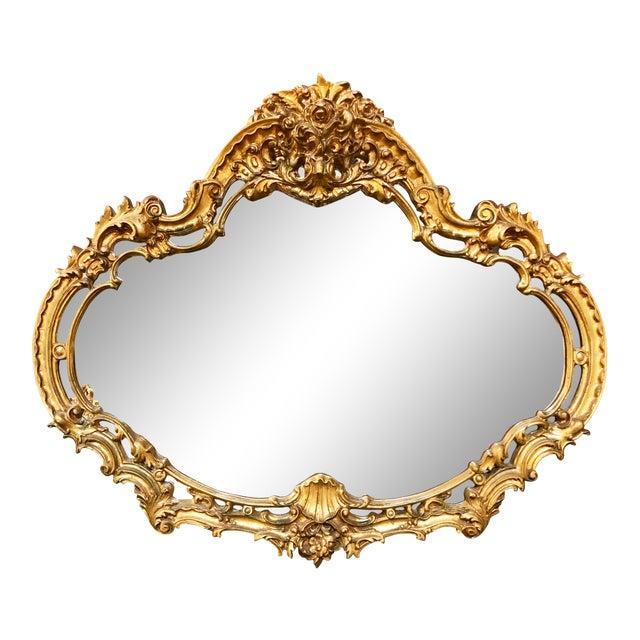 Large Vintage Gold Mirror For Sale