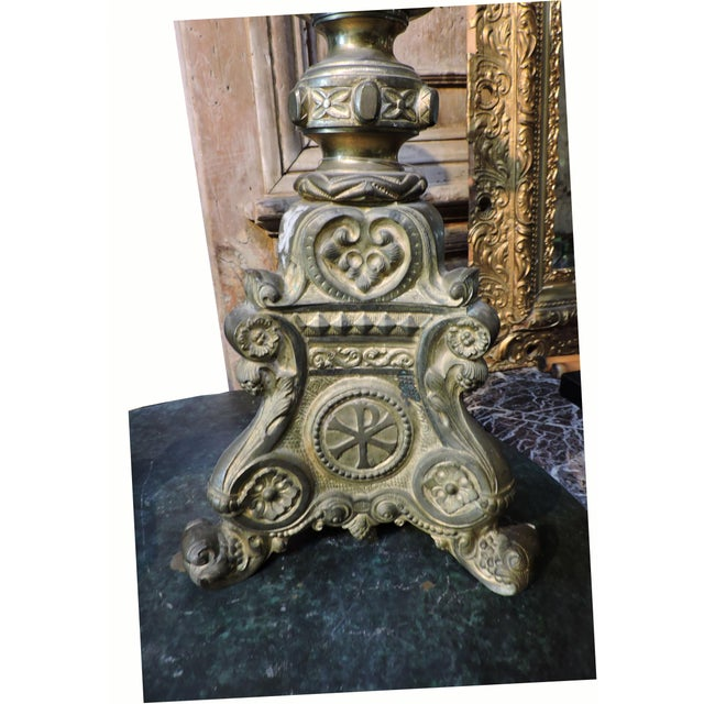 French Gilded Church Candlestick With Christian Symbols - Image 2 of 6