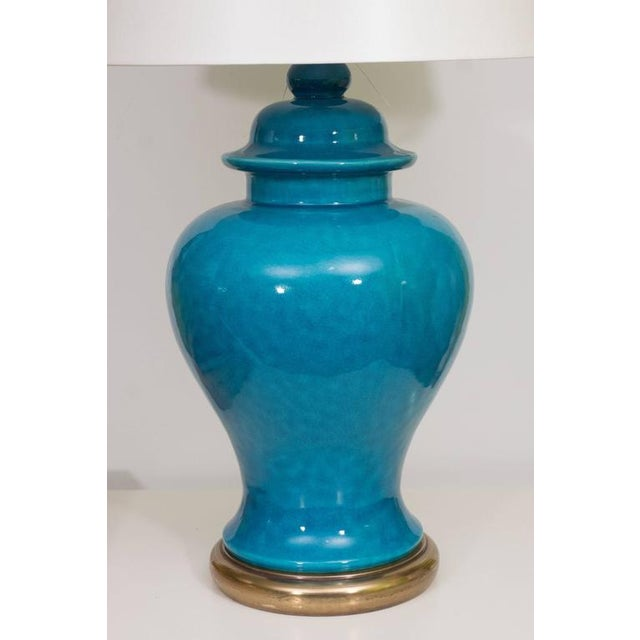Mid-Century Modern Pair of Mid-Century Ceramic Blue Lamps For Sale - Image 3 of 9
