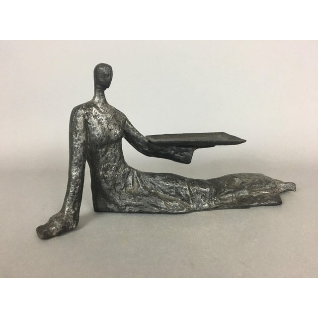 Mid-Century Metal Sculpture of Reclining Female Business Card Holder For Sale - Image 12 of 12