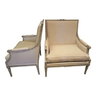 Pair of Marquis 19th C Louis XVI Bergeres For Sale
